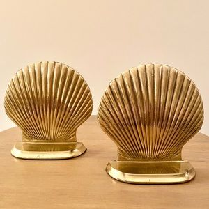 Vintage Brass Seashell Bookends